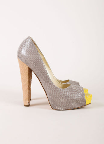 Brian Atwood Grey and Yellow Snakeskin Leather Peep Toe Platform Pumps Sideview