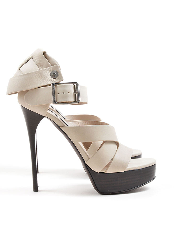 Burberry Prorsum Beige Suede Strappy Platform Heeled Sandals Sideview