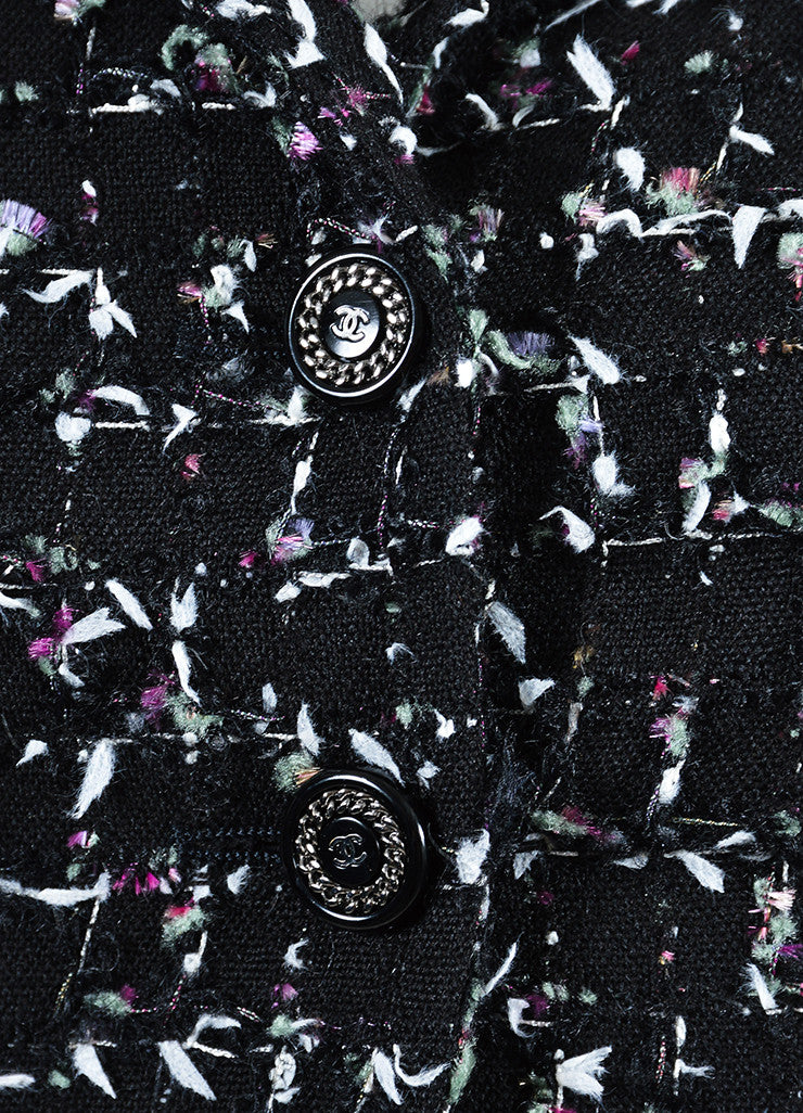 Black Multicolor Chanel Wool Tweed Tie Embellished Jacket Detail