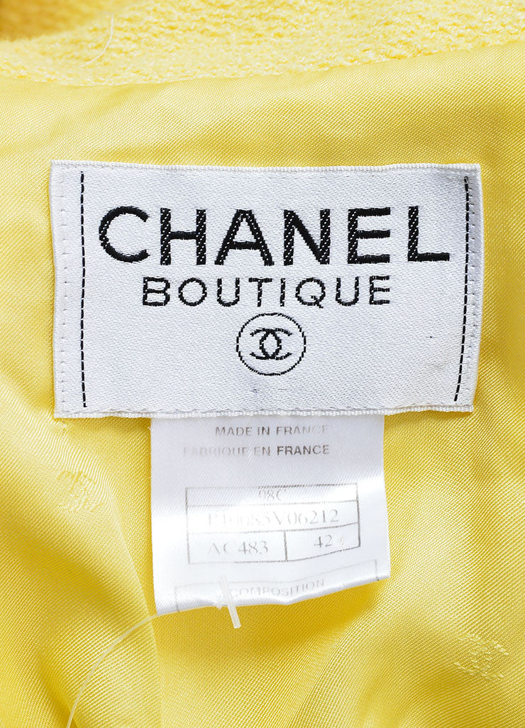 "Chanel Yellow Wool and Cotton ""CC"" Double Breasted Blazer Brand"