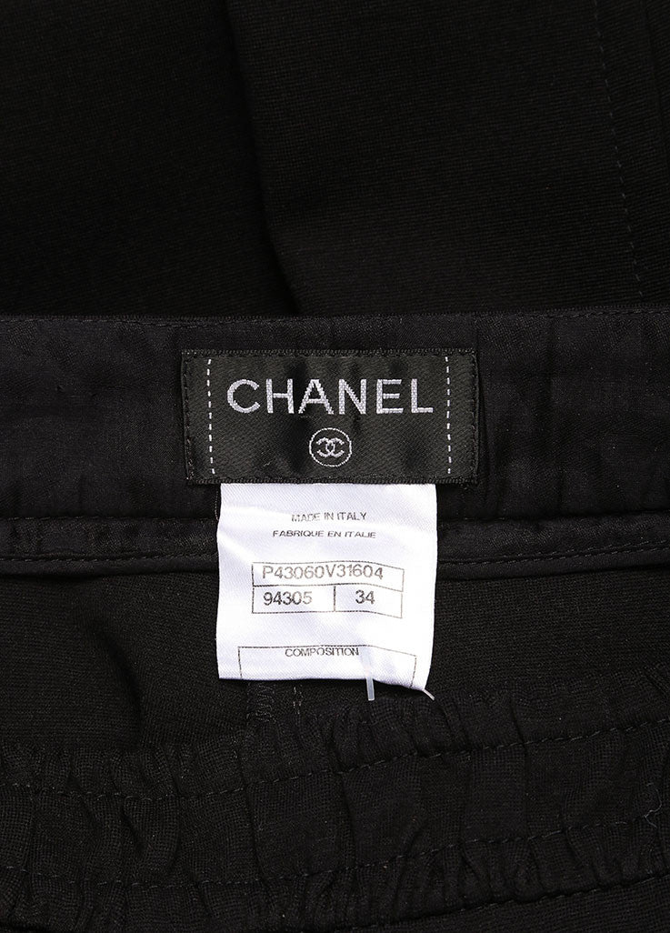 Chanel Black Wide Leg Gripoix Embellished Stretch Pants Brand