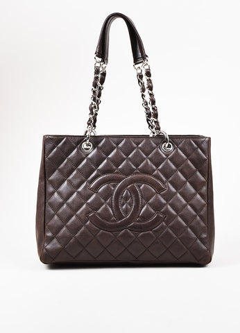 "Chanel Brown Caviar Leather 'CC' Logo ""GST Grand Shopping Tote"" Shoulder Bag Frontview"