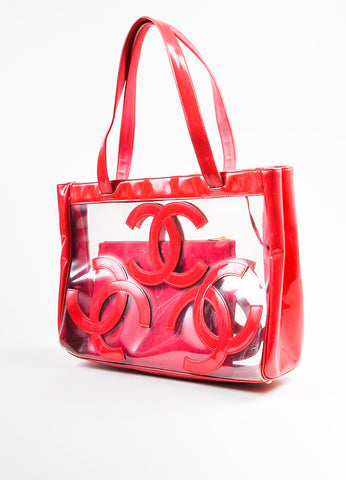 Chanel Dark Pink Patent Leather and PVC 'CC' Logo Beach Tote with Pouch Sideview