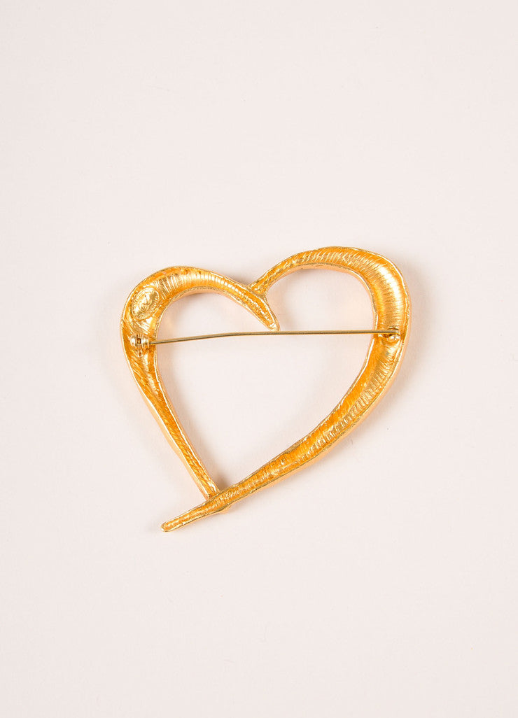 Christian Lacroix Gold Toned Textured Open Heart Pin Backview