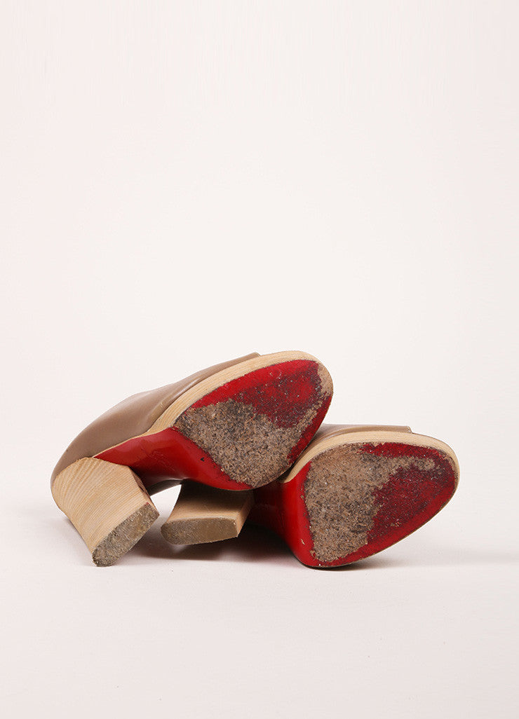 Christian Louboutin Taupe and Ash Brown Peep Toe Stacked Heel Leather Mules Outsoles