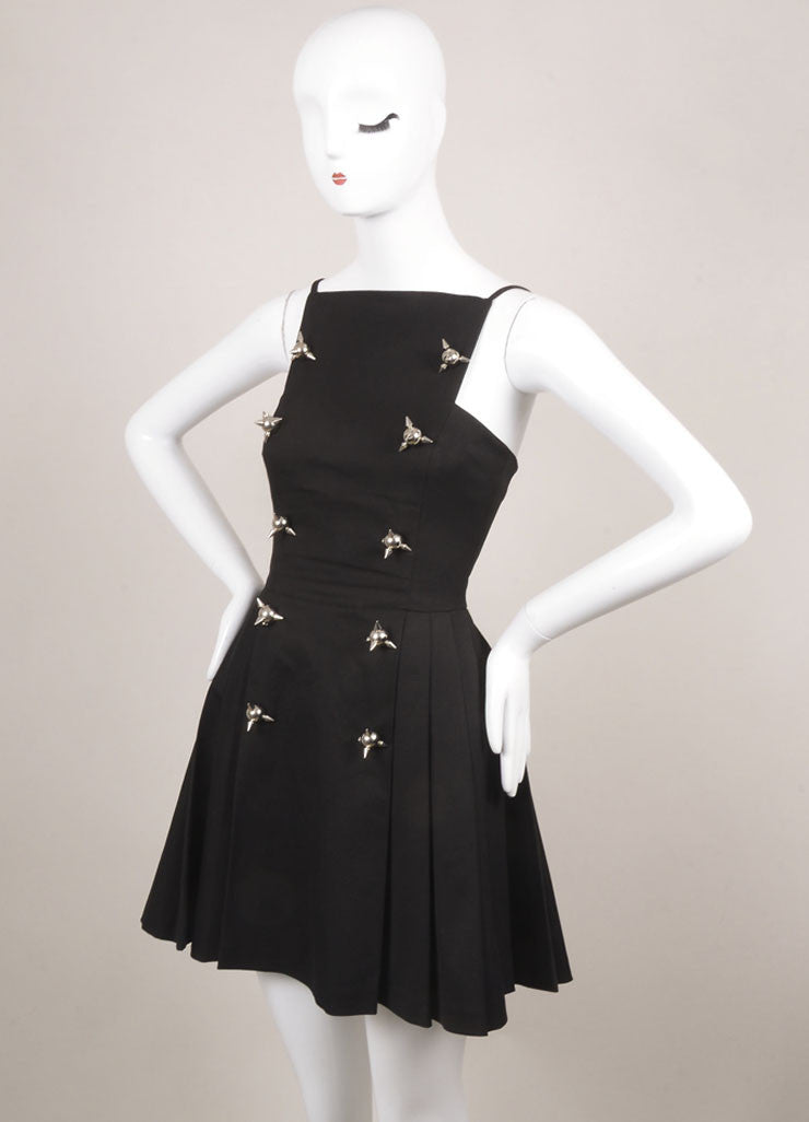 DSquared Black Cotton Spiked Sleeveless Fit and Flare Dress Sideview