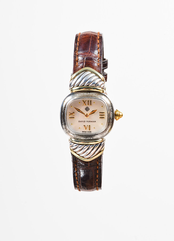 "David Yurman Sterling Silver, 14K Gold, and Brown Crocodile ""Renaissance"" Watch Frontview"