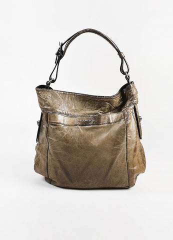 "Givenchy Dark Taupe Distressed Leather ""Moyen"" Shoulder Bag Front"