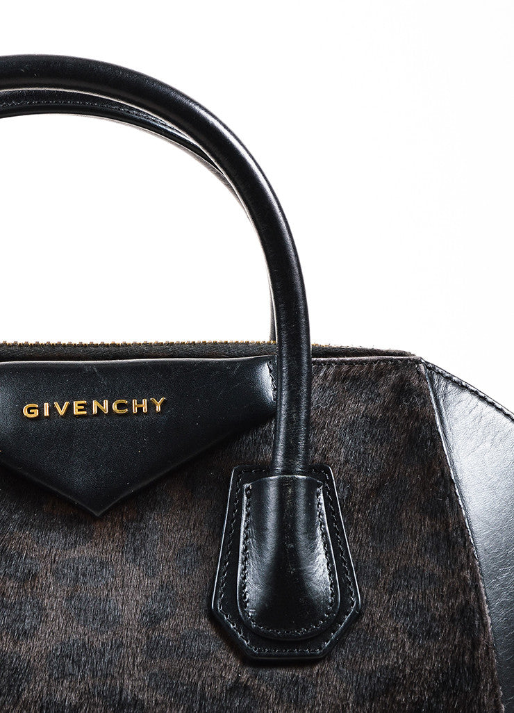 "Givenchy Brown and Black Calf Hair Leather Leopard Print ""Antigona"" Satchel Bag Detail 2"