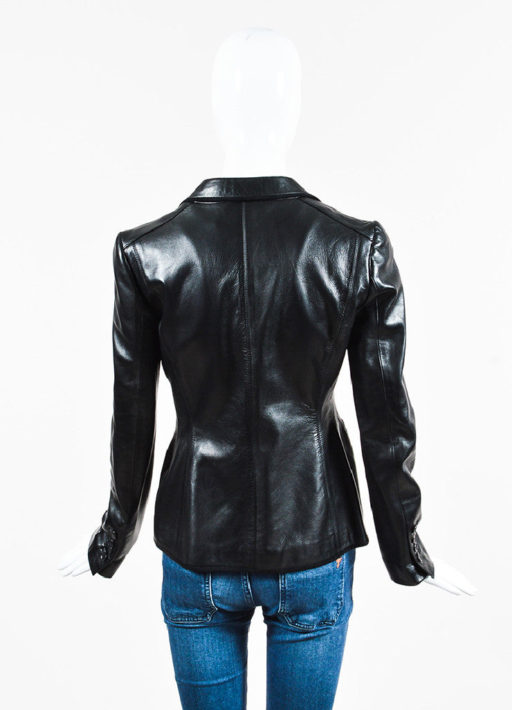 Gucci Black Leather & Suede Trimmed Dual Button Jacket Back