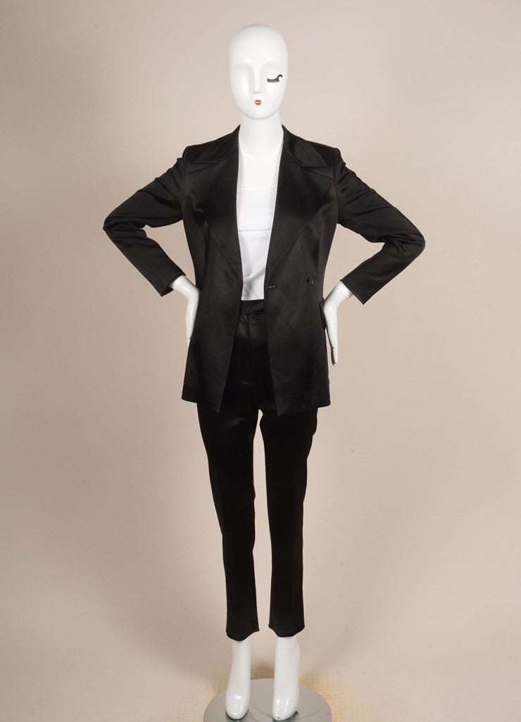 Gucci Black Satin Longline Jacket and Straight Leg Trouser Pant Suit Frontview