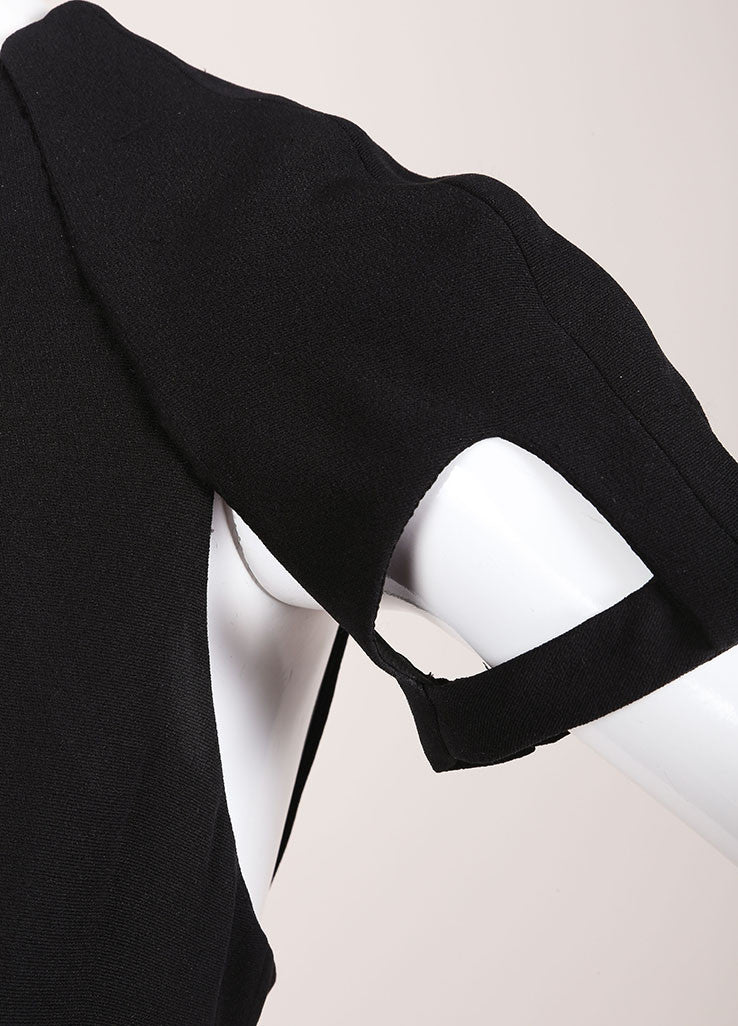 Gucci Black Silk Knit Cut Out Detail Short Sleeve Sheath Dress Detail