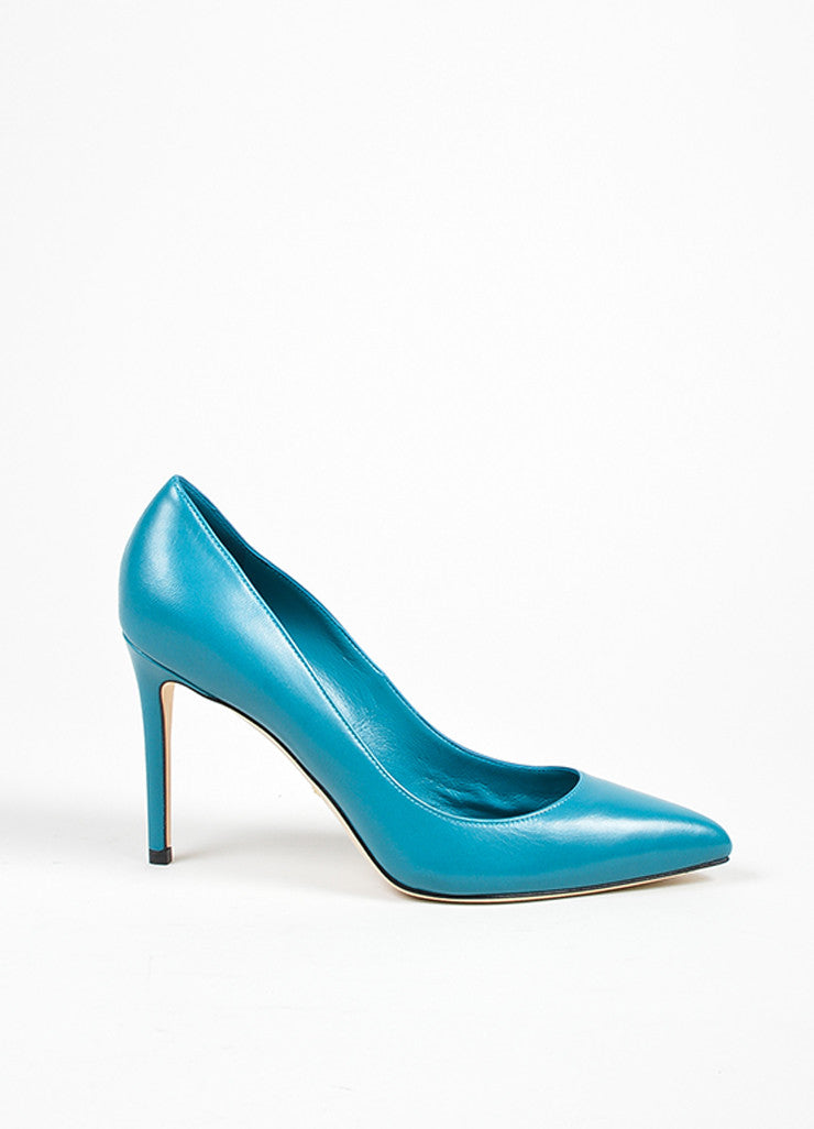 "Cobalt Blue Gucci Leather Pointed Toe ""Brooke 95mm"" Pumps Side"