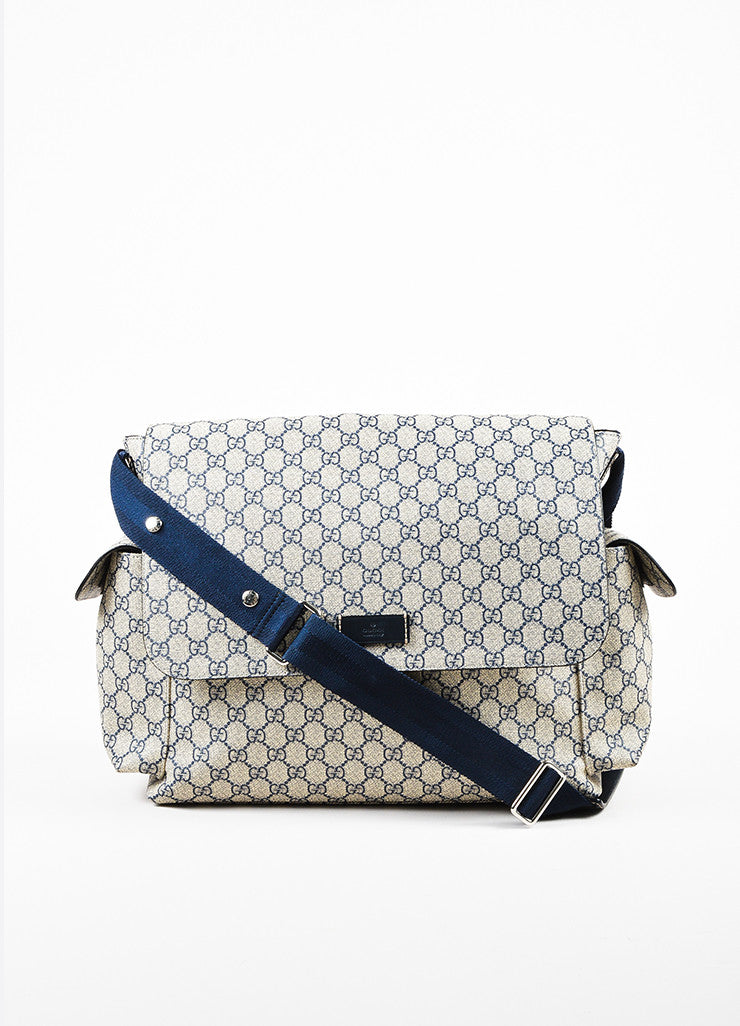 Cream and Navy Gucci Coated Canvas 'GG' Printed Messenger Diaper Bag Frontview