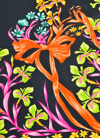 "Hermes Black and Multicolor Silk Neiman Marcus Ltd. Edition ""Cheval Fleuri"" Scarf Detail"