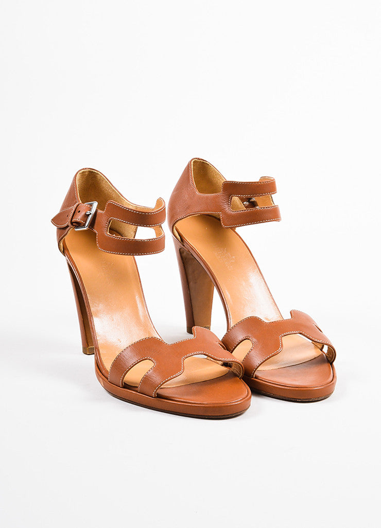 "Hermes Cognac Leather ""H"" Ankle Strap Sandal Heels Frontview"