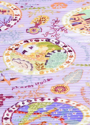"Hermes Lavender and Multicolor Silk Pleated ""Escales Mediterraneennes"" Plisse Scarf Detail"