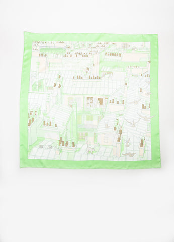 "Hermes Light Green and Cream Silk Printed ""Les Toits de Paris"" Scarf Frontview 2"