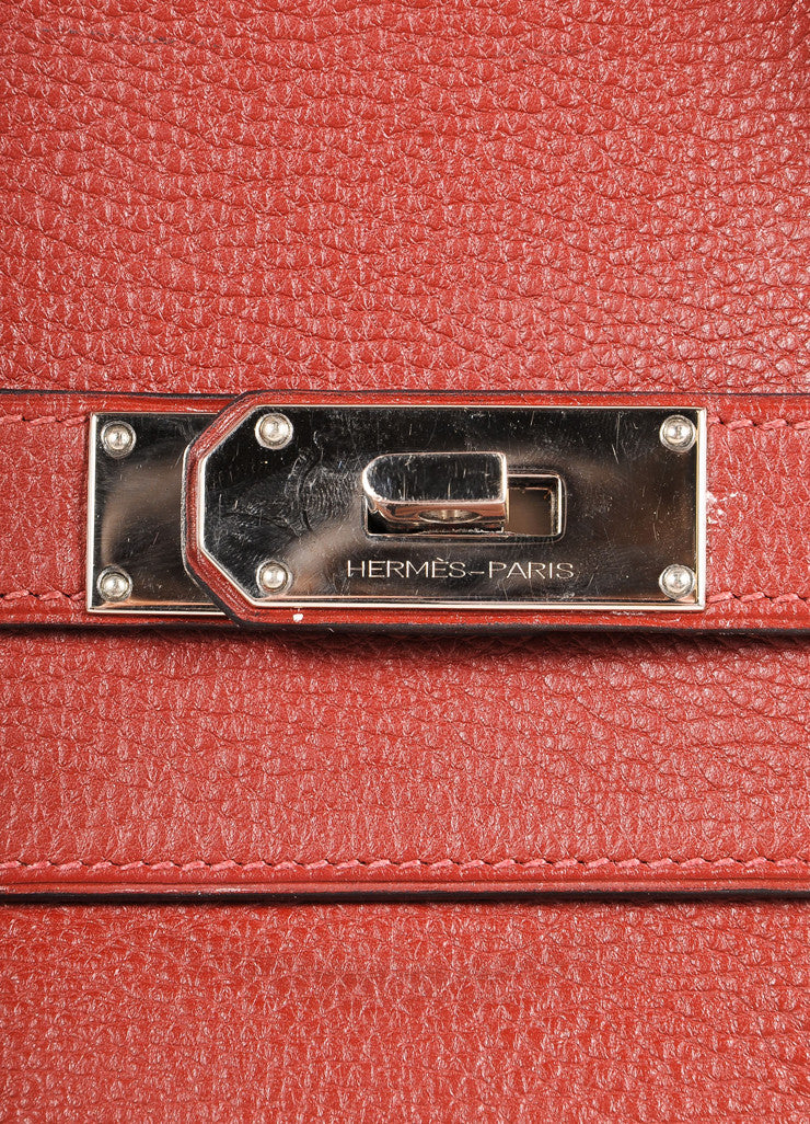 "Hermes Red ""Rouge H"" and Silver Toned Clemence Leather 42cm Shoulder Birkin Bag Brand 2"