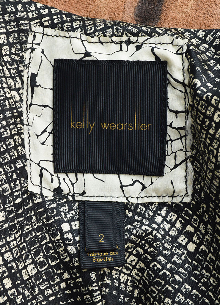 Kelly Wearstler Brown, Cream, and Black Suede Leather Tie Dye Jacket Brand