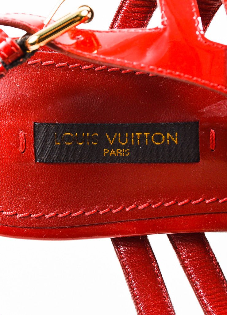 Louis Vuitton Red Patent Leather 'LV' Strappy Slingback Flat Sandals Brand