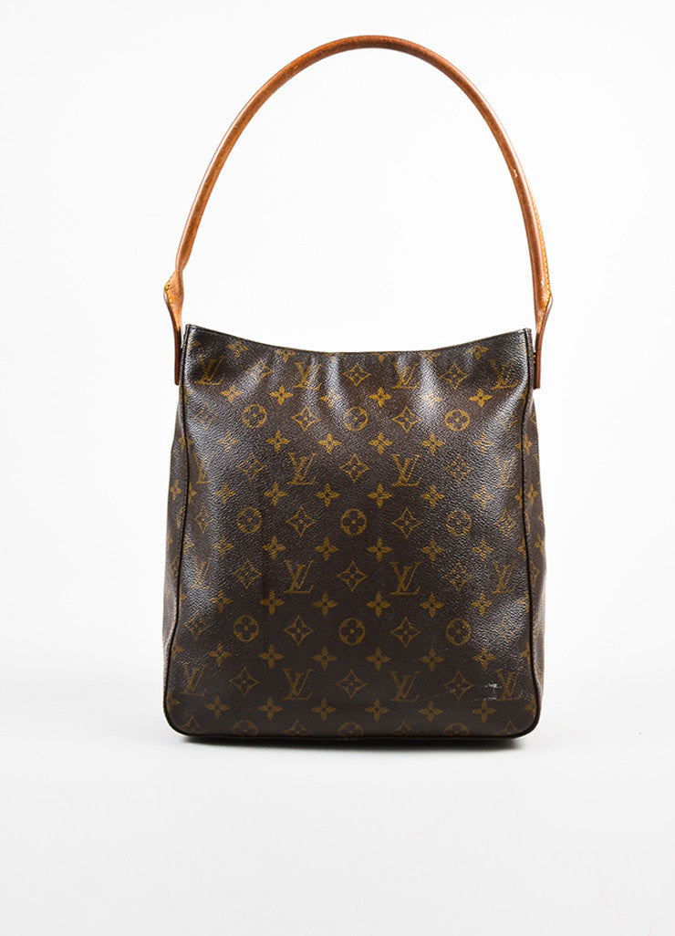 "Louis Vuitton Brown and Tan Coated Canvas Leather Monogrammed ""Looping GM"" Tote Bag frontview"