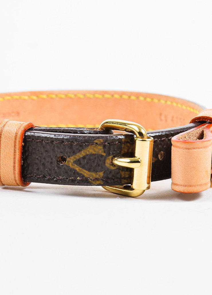 Brown Canvas Louis Vuitton Gold Tone Baxter Dog Collar Back