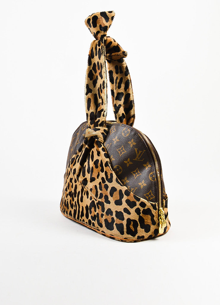 "¥éËLouis Vuitton x Azzedine Alaia Brown Coated Canvas Leopard Pony Hair ""Alma"" Bag Sideview"
