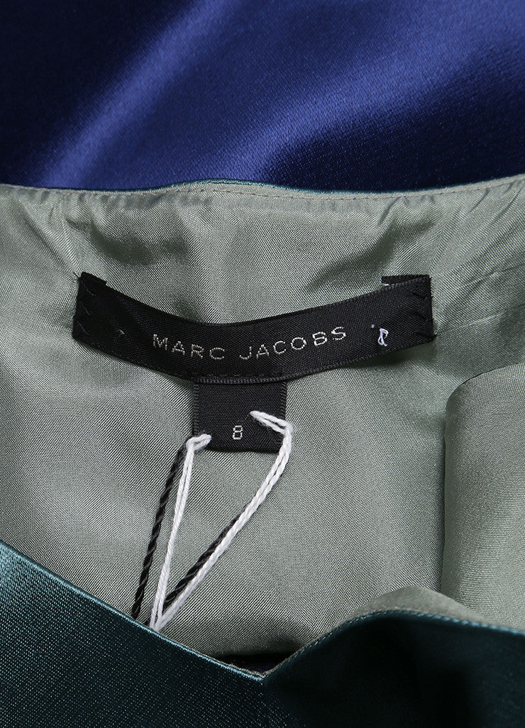 Marc Jacobs New With Tags Green, Blue, and Taupe Striped Satin Sleeveless A-Line Dress Brand