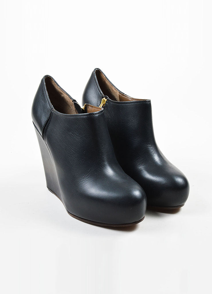 Black Marni Leather Platform Wedge Ankle Booties Frontview