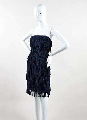 Mathieu Mirano Navy Suede Leather Silk Fringe Strapless Dress Sideview