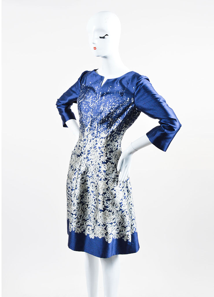 "Midnight Navy Oscar de la Renta Silk and Cotton Lace Print ""Guipure"" Dress Sideview"