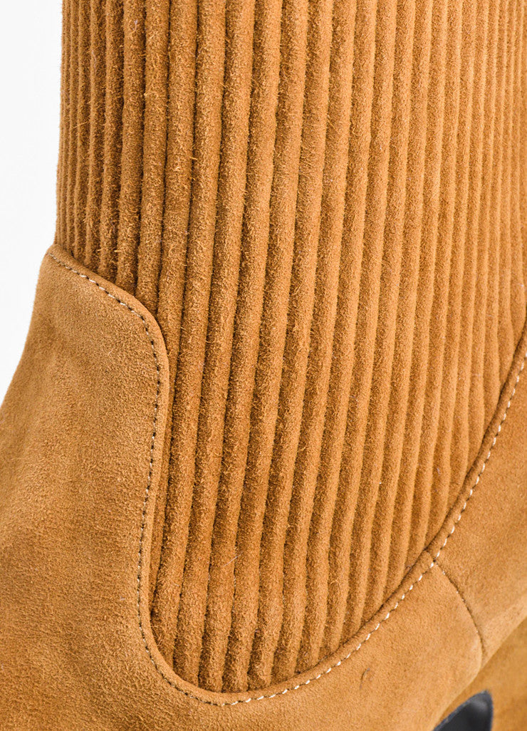Tan	Pierre Hardy Suede Leather Ribbed Knee High Boots Detail