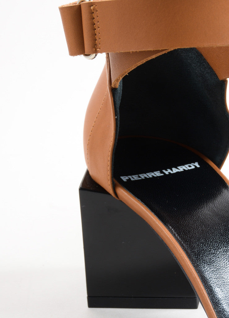 "Pierre Hardy Brown and Black Leather Block Heel ""Monolite"" Sandals Detail"