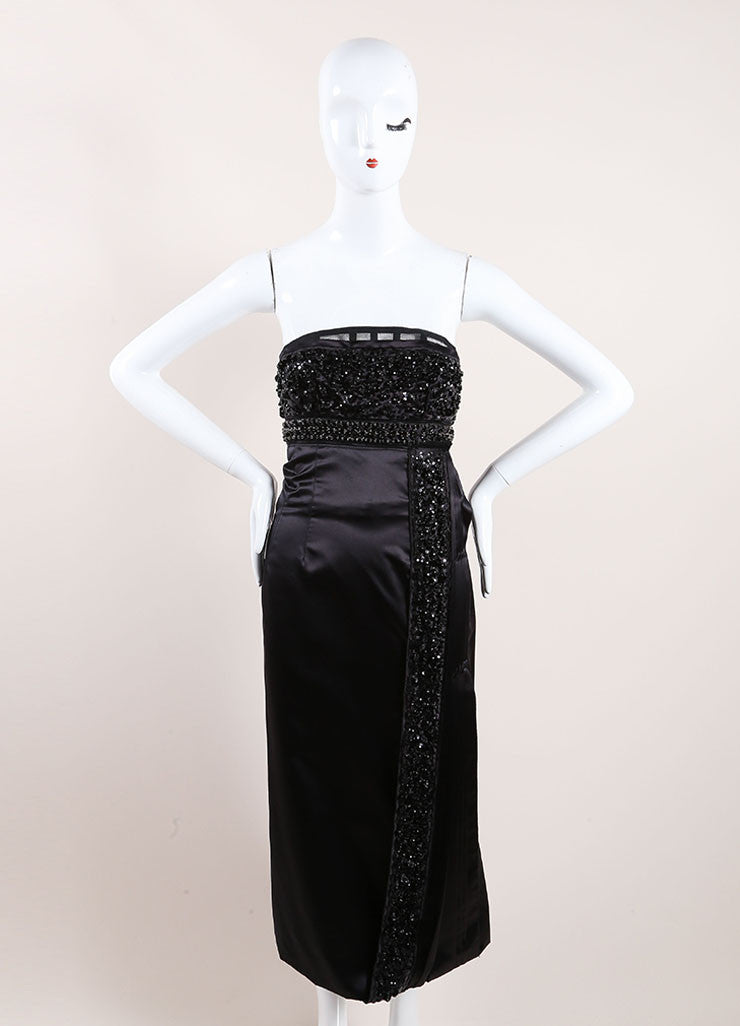 Prada Black Silk Strapless Dress Front