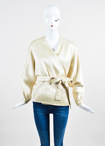 "The Row Cream Silky ""Haki"" Belted Wrap Kimono Jacket Frontview"