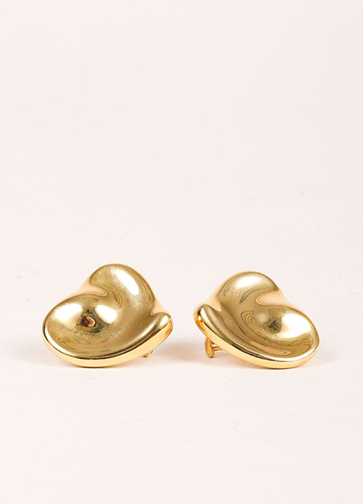 "Tiffany & Co. 18K Gold Elsa Peretti ""Full Heart"" Earrings Sideview"