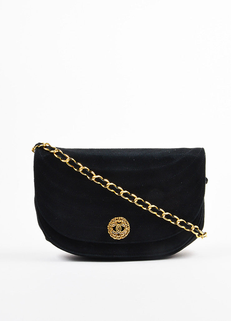 Chanel Black Suede Gold Toned Chain Strap Shoulder Bag Frontview