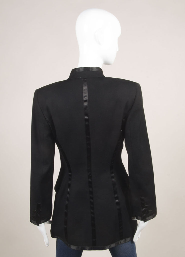 State of Claude Montana Black Wool Tailored Zip Long Jacket Backview