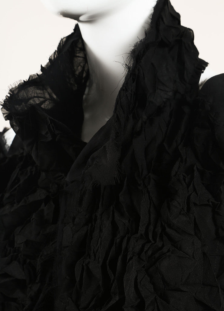 Yohji Yamamoto Black Sheer Cut Out Shoulder Ruffle Shrug Midi Dress Detail
