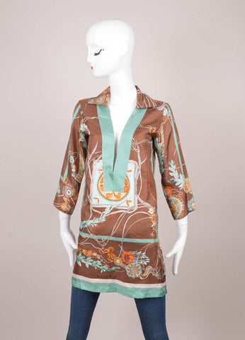 Brown and Teal Silk Floral Print Tunic