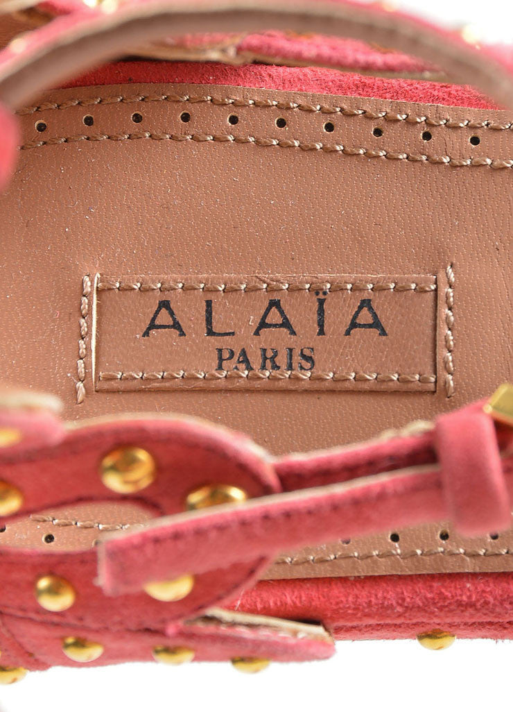 Pink Suede Gold Studded Strappy Gladiator Flat Alaia Sandals Brand
