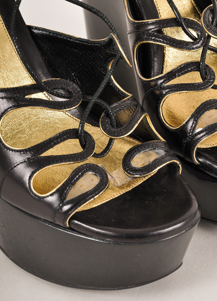 Alexander McQueen Black and Gold Leather Lace Up Glossy Platform Wedges Detail