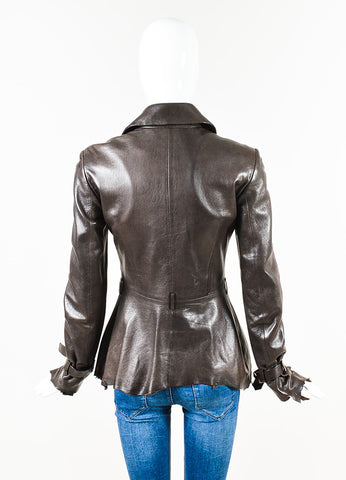 Alexander McQueen Brown Leather Raw Edge Buckle Strap Jacket Back