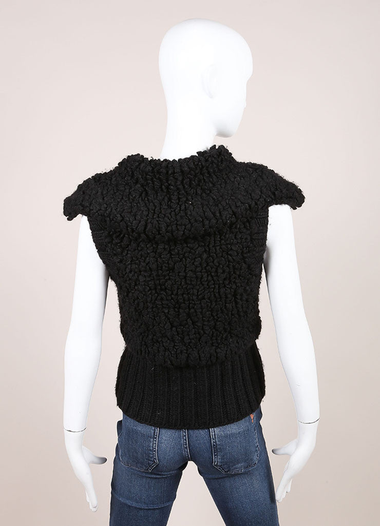 Black Alexander Wang Wool Shawl Collar Chunky Knit Vest