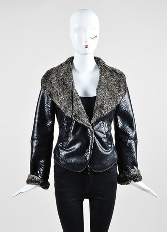 Black and Grey Armani Collezioni Snake Effect Fur Lined Jacket  Frontview 2