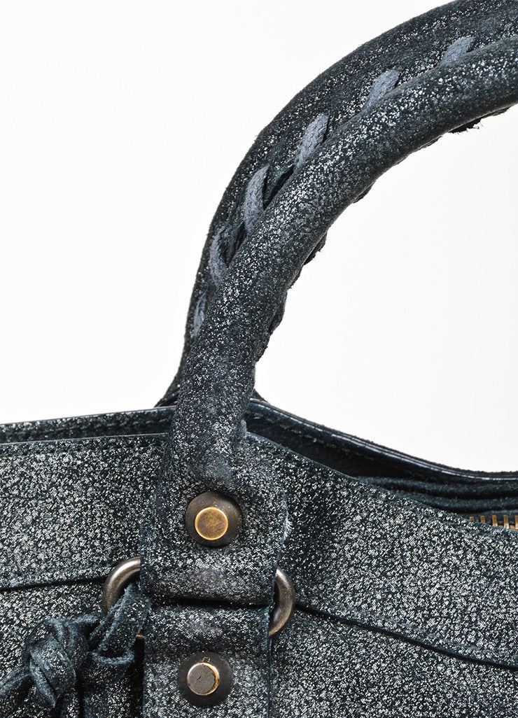 "Black Balenciaga  Leather Glitter Coated ""Classic First Satchel"" Bag Detail 2"