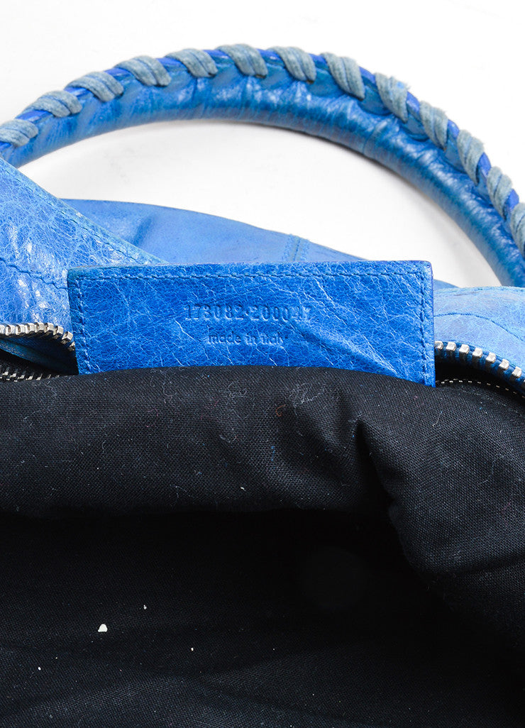 "Blue Balenciaga Leather ""Giant Part Time"" Satchel Bag Serial"