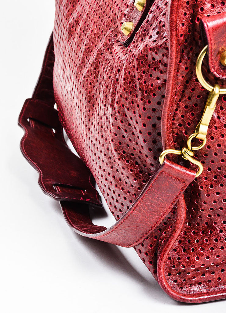 "Maroon Red Balenciaga Perforated Lambskin Leather ""Classic City"" Satchel Bag Detail 3"