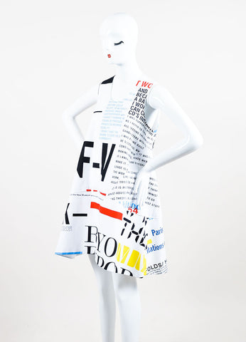 Balenciaga White, Red, and Yellow Cotton Graphic Print Special Edition Sleeveless Dress Sideview